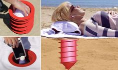 beach locker that screws into the sand - waterproof locker, known as the Beach Vault, 12in. deep in the sand, comes with a special towel that has a hole cut away for easy access