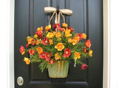 Floral Wall Pocket Flower Basket of Poppies by twoinspireyou