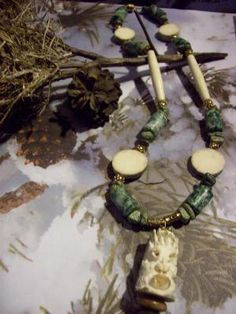 Recycled Alaskan Moose Antler Carved Tlingit Eskimo Face Handmade Beaded Necklace Free Shipping
