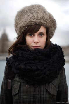Chapka, large black scarf, coat / Garance Doré