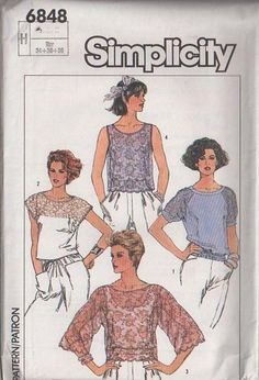 MOMSPatterns Vintage Sewing Patterns - Simplicity 6848 Vintage 80's Sewing Pattern BEAUTIFUL Summer Sheer Lace Cap, Raglan or Bell Sleeve Top, Blouse Set Size 6-10