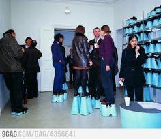 Same Height Party. idea, stuff, funni, parties, height parti, random, art exhibition, platform shoes, han hemmert