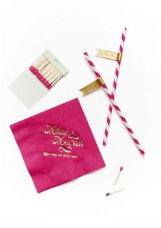 Pink and Gold Foil Wedding Invitations by Coral Pheasant via Oh So Beautiful Paper.