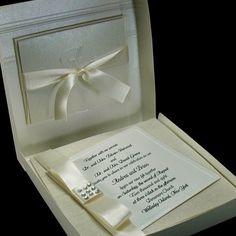 Boxed Couture Wedding Invitations -  Black Tie Wedding - Ivory  - Formal Wedding  --  Invitation  - Set of 100. $845.00, via Etsy.