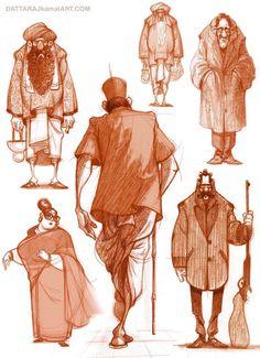 DATTARAJ KAMAT Animation art: Character explorations done today...