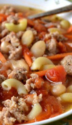 dinner, chicken sausag, bean soup