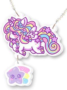 Fairy Kei  Rainbow Unicorn  Necklace   Kawaii   by HolleyTeaTime, $18.00