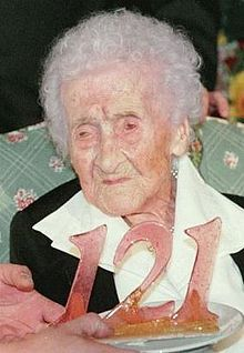 Jeanne Louise Calment of France (1875–1997) had the longest confirmed life span of 122years, 164days.  She is the only person to have lived past 120, the next oldest person being 119.  She rode her bike until she was 100 and lived alone until she was 110 and her sight started to fail.  She started smoking at age 21 and quit at age 117 (!!).  She reportedly ate a kilogram of chocolate a week.