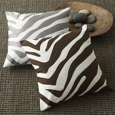 Grey Zebra Print Pillow West Elm
