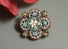 Antique Micro Mosaic Pin Brooch // Italy 1920s // by Successionary, $36.99