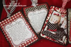 ornaments, on back a little description of the child displayed on photo...great for Christmas, birthdays, any holiday...cute!!