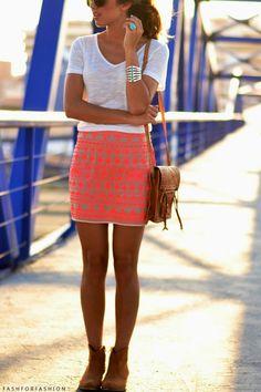 white tee, printed coral skirt, booties