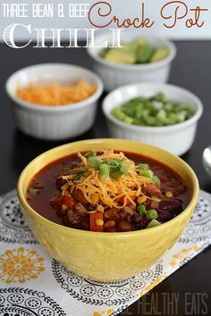 Three Bean & Beef Crock Pot Chili Recipe - loads of veggies, easy to make, HEALTHY, and full of flavor #crockpot #chilirecipe #chili | by @JoyfulHealthyEats