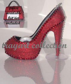 Ruby Red Gem Bling sparkle High Heel Shoe TAPE DISPENSER Stiletto Platform - office supplies - trayart collection. $29.50, via Etsy.