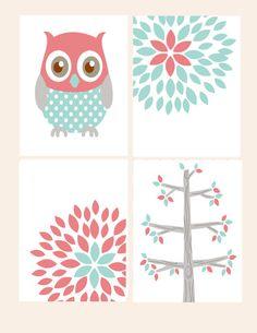 Owl Tree Blossom Print Coral Aqua