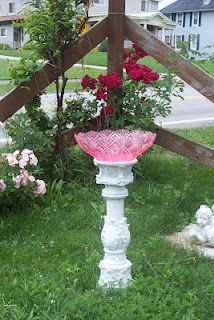 Recycled painted dishes garden art birdbath