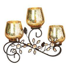 Floral Mercury Glass Tealight Candleholder