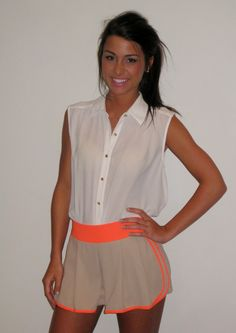 Taupe and Neon Pleat Front Shorts