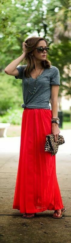 Grey shirt and red long skirt combo