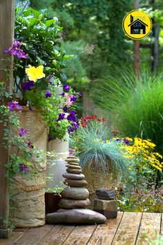 From Creative Cain Cabin blog.   Love the stacked rocks....