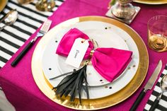 bow tie and tassel napkins // photo by Anneli Marinovich Photography // View more: http://ruffledblog.com/kate-spade-inspired-wedding-event/