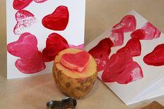 Potato Stamp Valentines this so cute