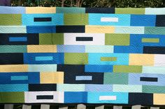Bright Geometric and Spirals Modern quilt I bought on Etsy..It is gorgeous....
