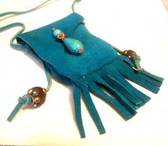 Suede Leather Medicine Bag Pouch With Fringe By Wooleycreek