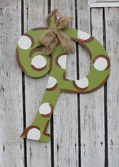 Monogram Iniital Wooden Door Hanger Art by PatrioticPeacockShop