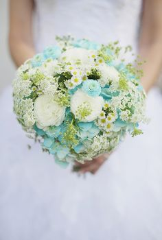 Aqua & White Wedding Bouquet