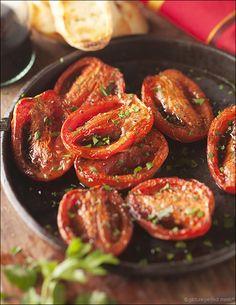 Balsamic-Roasted Tomatoes - transform bland supermarket Roma tomatoes with this high-heat method. veggi, side, food, balsam roast, recip, balsamicroast tomato, veget, tomatoes, roma tomato