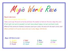 Magic Words Race - a game to assist students with their Magic 100 Words (M100W)