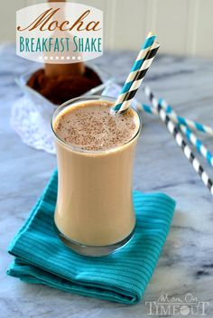 Mocha Breakfast Shake made with Greek Yogurt for a wake-me-up, protein-packed breakfast! | MomOnTimeout.com