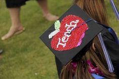 Teach. Gemstone teacher apple. CSUSM graduation cap. Mortarboard decoration ideas | California State University San Marcos Commencement 2013