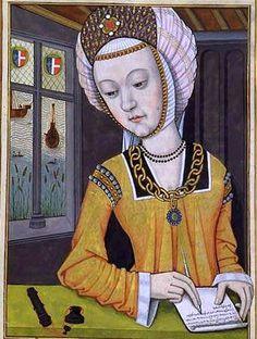 Hypsipylé, first wife of Jason, from Octavien de Saint-Gelais.  2nd time I've seen headgear like this.