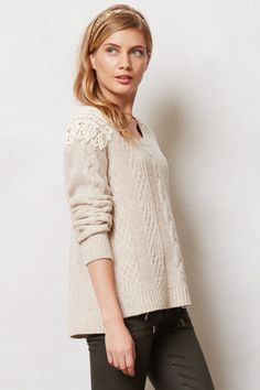 crochet epaulet sweater
