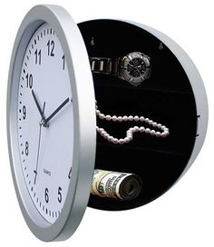 Clock with hidden safe.