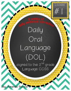 Daily Oral Language (DOL) Book 1: Aligned to 2nd Grade CCSS from Sweet and Neat Printables on TeachersNotebook.com -  (90 pages)  - This booklet is 8 weeks of daily sentence correction aligned to the 2nd grade Language CCSS! Each day has 2 sentences to correct.