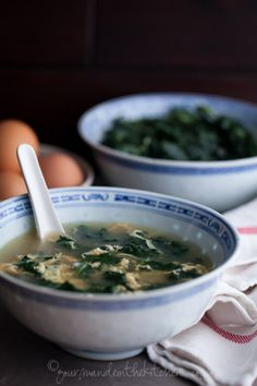 Kale and Garlic Soup from Gourmande in the Kitchen Winter Greens and Egg Soup | Stracciatella, Aigo Boulido