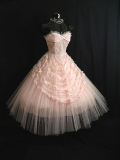 Vintage 1950's Pink Tulle Lace Ribbon Dress