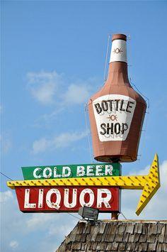 Bottle Shop Cold Beer Liquor Vintage