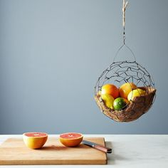 spherical hanging fruit basket
