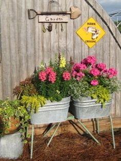 old washtubs make wonderful plant containers