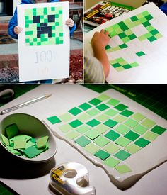 Minecraft 100 Day of School Project | Creeper Mosaic