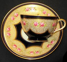 Aynsley Gold N Fishnet Lace Tea cup and saucer Antique Aynsley, England c.1905-1910.