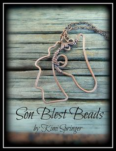 Son Blest Beads WIRE equine HORSE head pendant / necklace by artist, Kimi Springer oxidized copper wire creation. $22.00