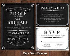 Chalkboard Wedding Invitation - Black & White - Printable. $30.00, via Etsy.