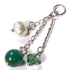 Aqua Agate Gemstone With Swarovski Crystal And Pearl Silver Pendant | Covergirlbeads - Jewelry on ArtFire