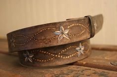 hand-tooled leather belt, vintage look