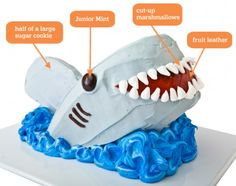 DIY Shark Birthday Cake: make a shark birthday cake with mini-marshmallows with an easy, step-by-step recipe, diagrams and pictures.